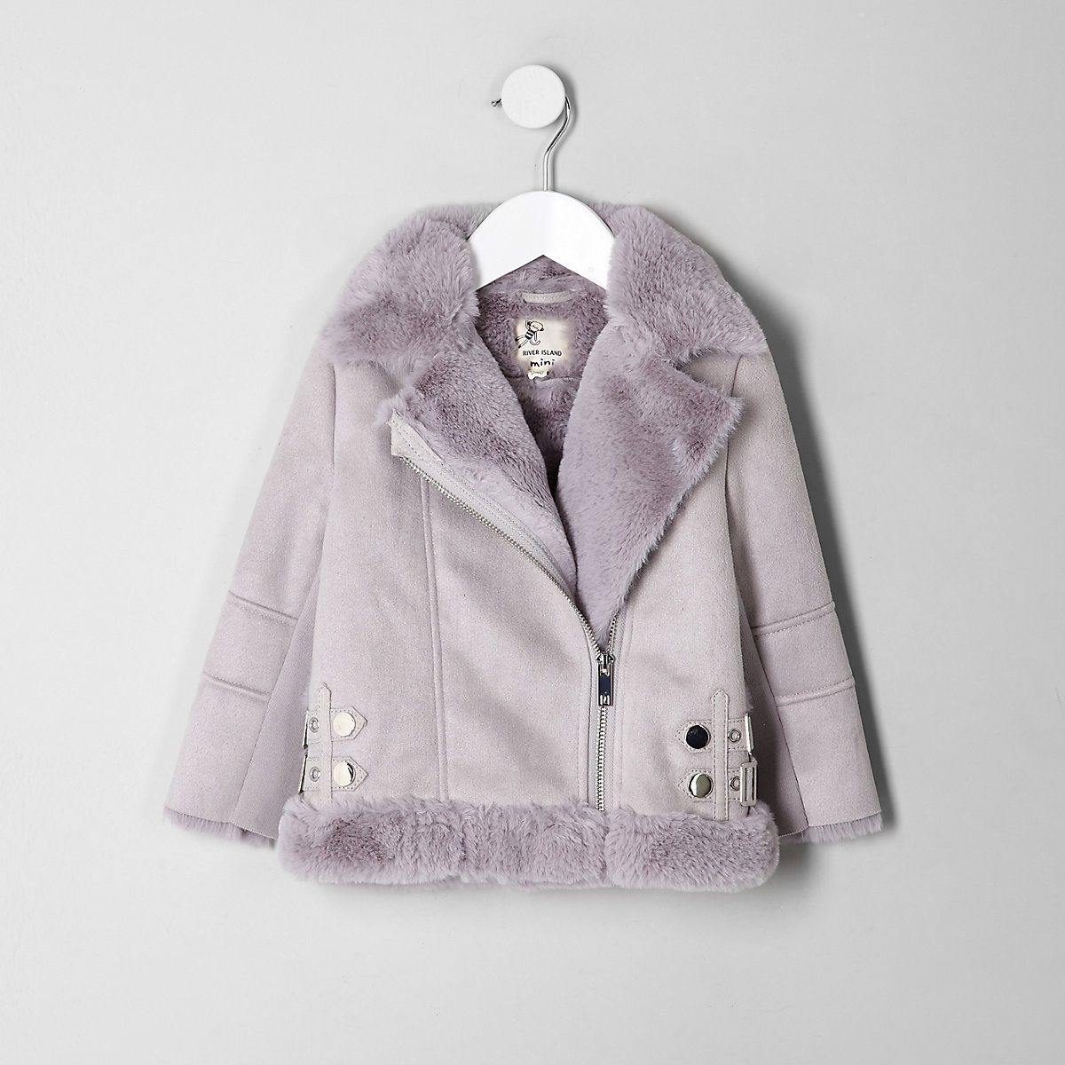 Mini girls grey faux fur lined aviator jacket