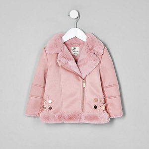 Mini girls pink faux fur lined aviator jacket