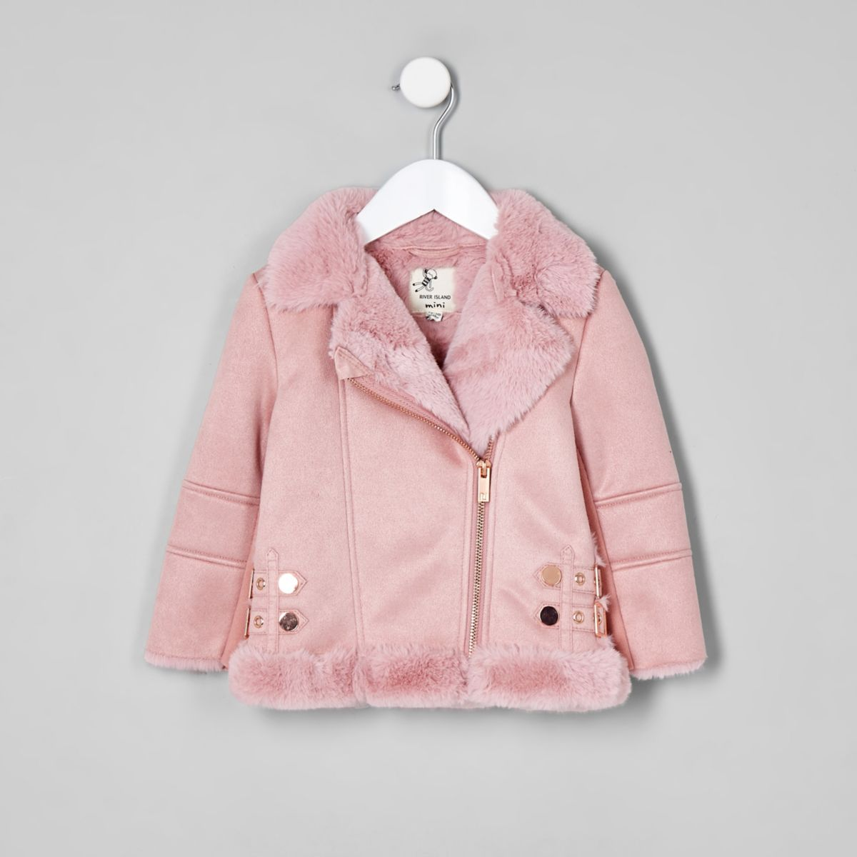 Mini girls pink faux fur lined aviator jacket