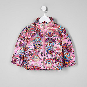 Mini girls pink jacquard puffer jacket