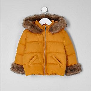 Manteau rembourré en fausse fourrure jaune mini fille