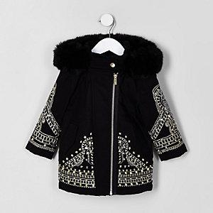 Mini - RI 30 - Zwarte verfraaide parka voor meisjes