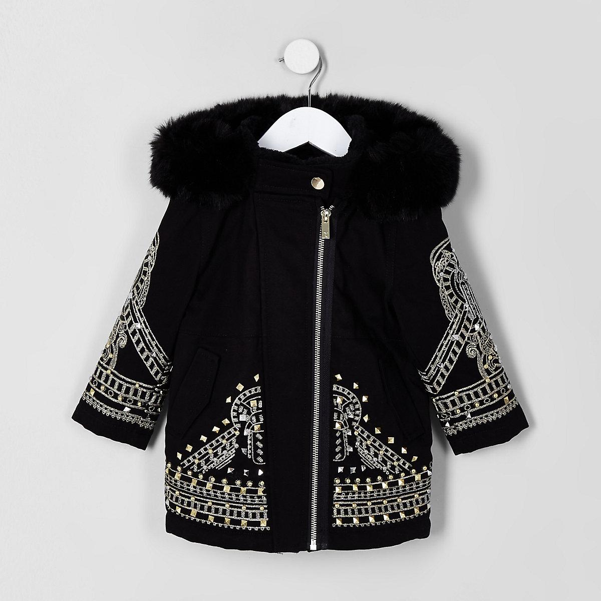 RI 30 mini girls black embellished parka