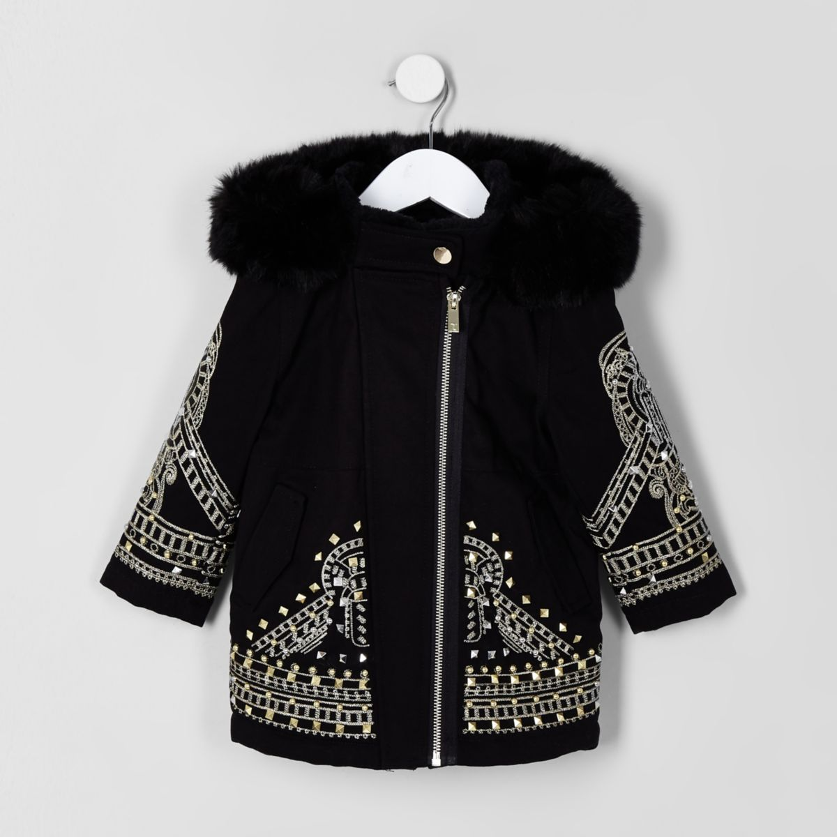 RI 30 mini girls black embellished parka