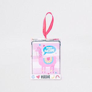 Miroir de poche motif chat «Happy zoo» lilas pour fille