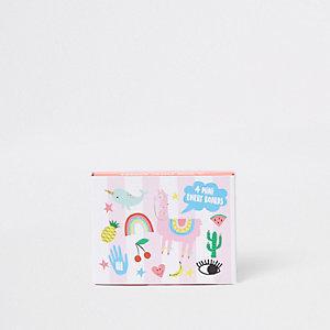 Mini kit limes à ongles «Happy zoo» rose pour fille