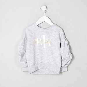 Mini girls RI ruched sleeve sweatshirt