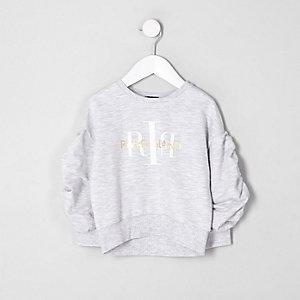 Mini - Sweatshirt met RI-logo en ruches aan de mouwen voor meisjes