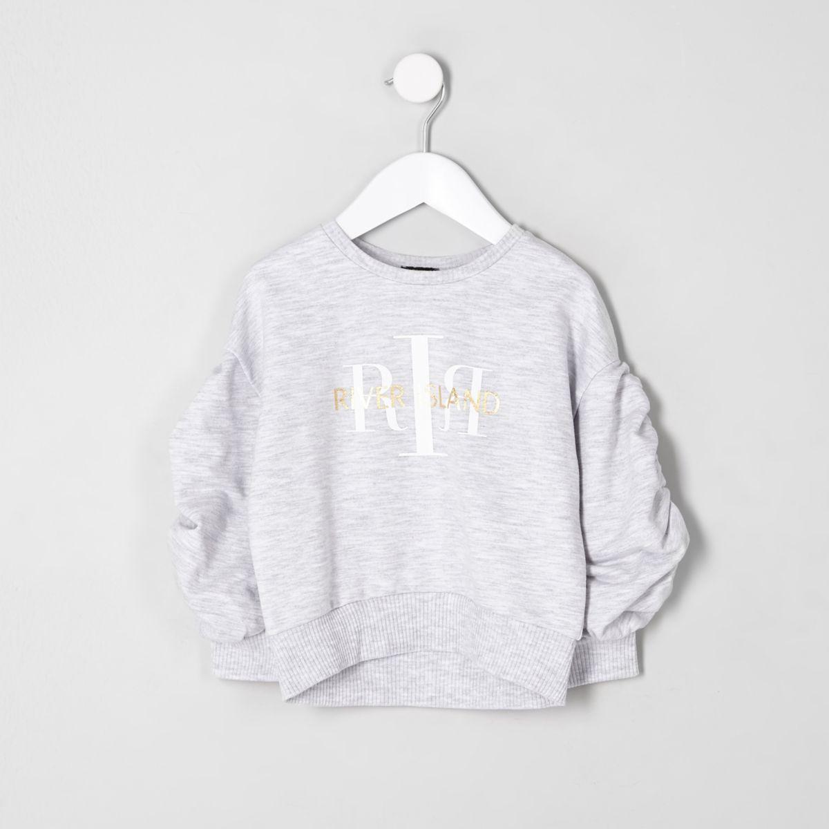 Mini girls RI ruched sleeve sweatshirt