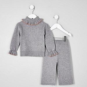 Mini - Grijze gebreide outfit met col en ruches voor meisjes