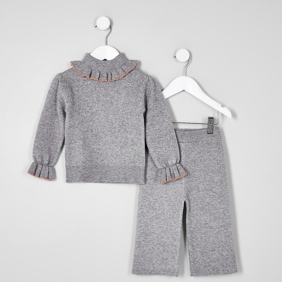 Mini girls grey knit frill roll neck outfit
