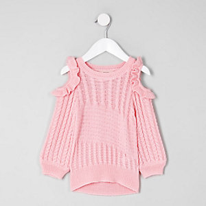 Mini girls pink cold shoulder knit sweater