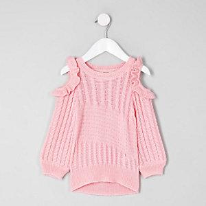 Mini - Roze schouderloze gebreide trui voor meisjes