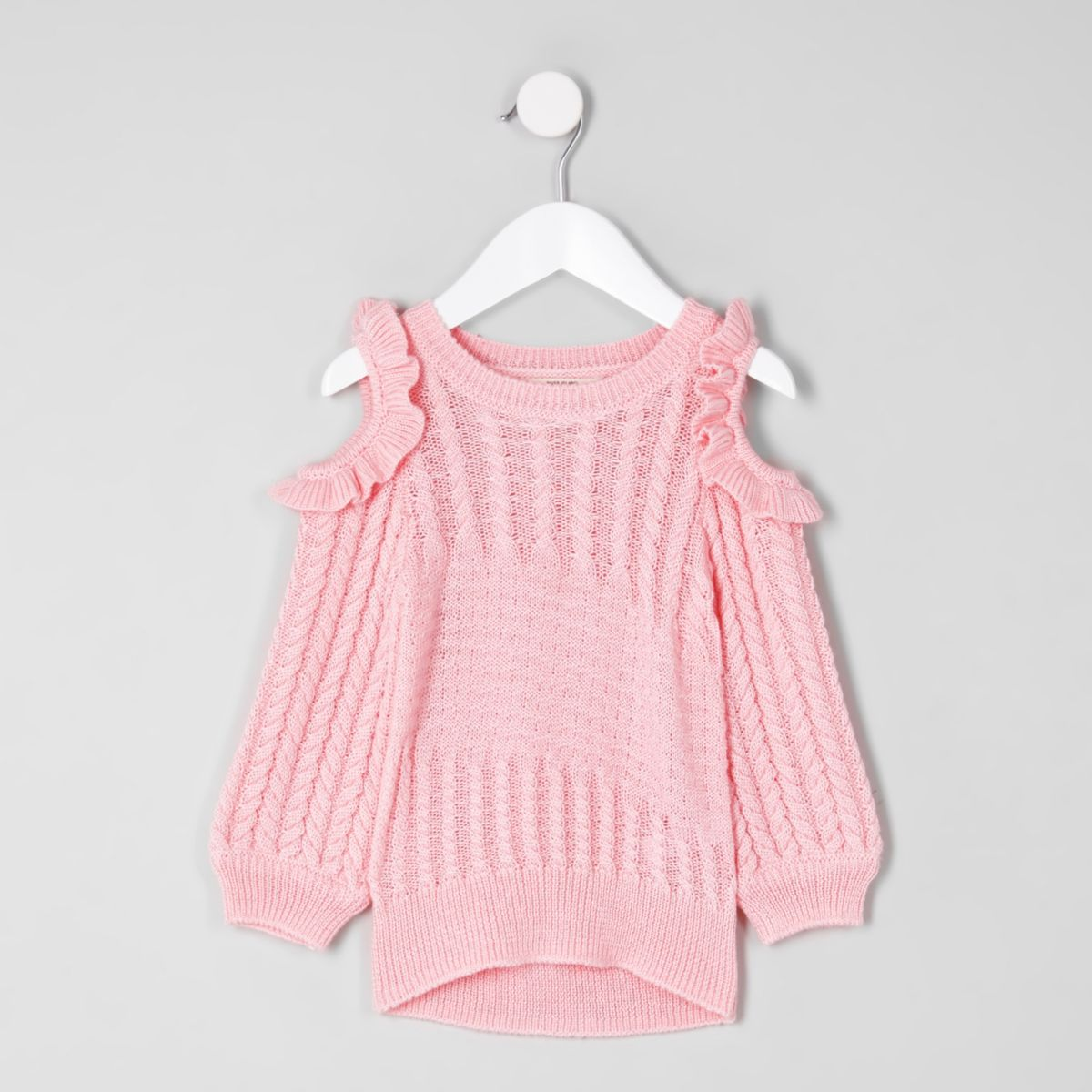 Mini girls pink cold shoulder knit jumper