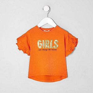 Mini - Oranje T-shirt met ruches en 'Girls'-print voor meisjes