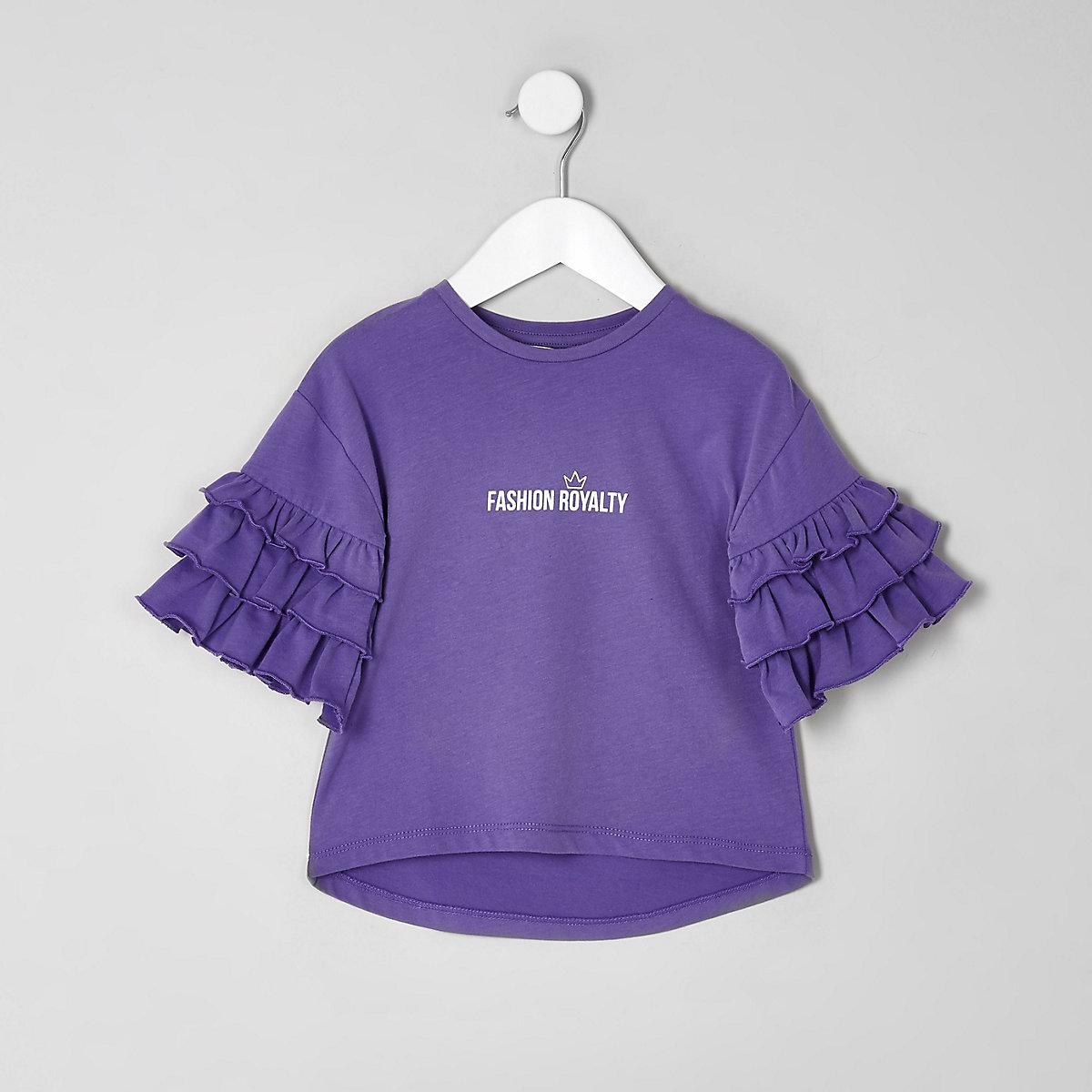 Mini girls purple 'fashion' frill T-shirt