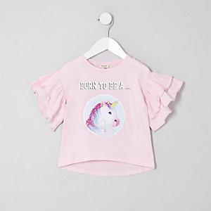 Mini - Aan twee kanten draagbaar T-shirt met prinses en lovertjes voor meisjes