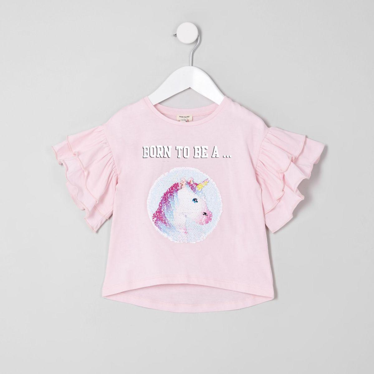 Mini girls princess reversible sequin T-shirt