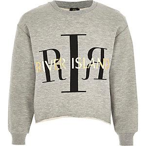 Girls grey RI cropped sweatshirt