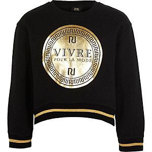 Zwart cropped sweatshirt met RI-logo en 'Vivre'-print voor meisjes