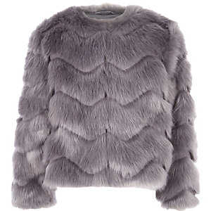 Girls grey faux fur coat