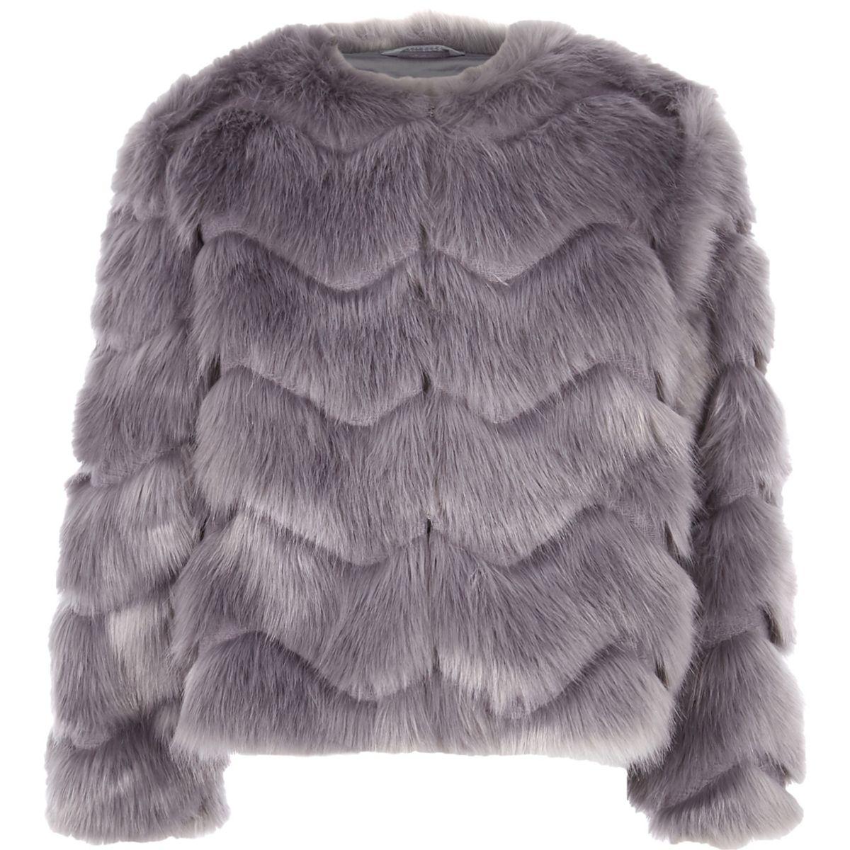 Girls grey faux fur coat