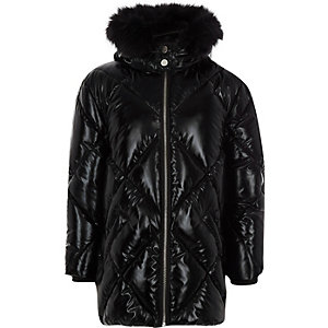 Girls high shine faux fur hood jacket