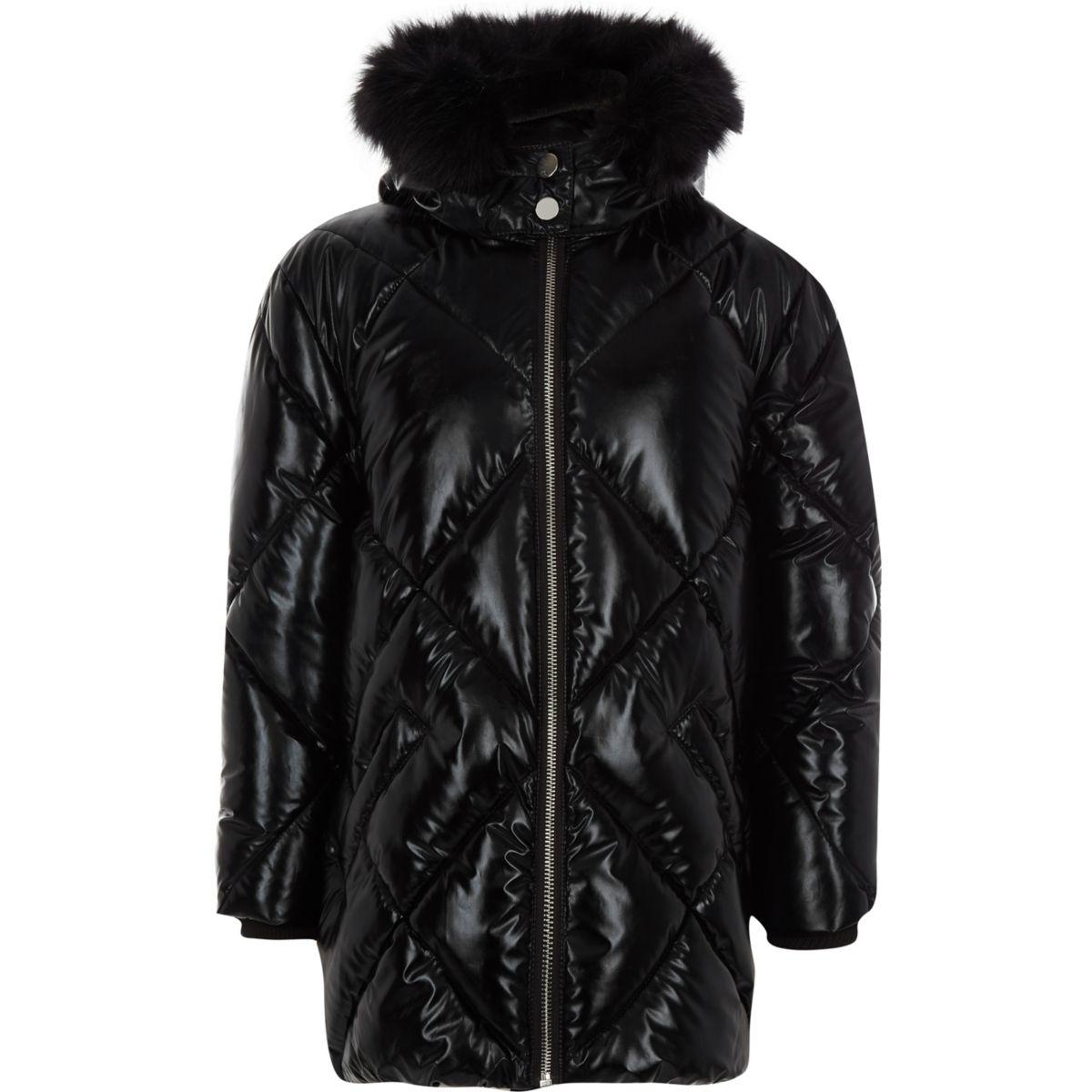 Girls high shine faux fur hood jacket