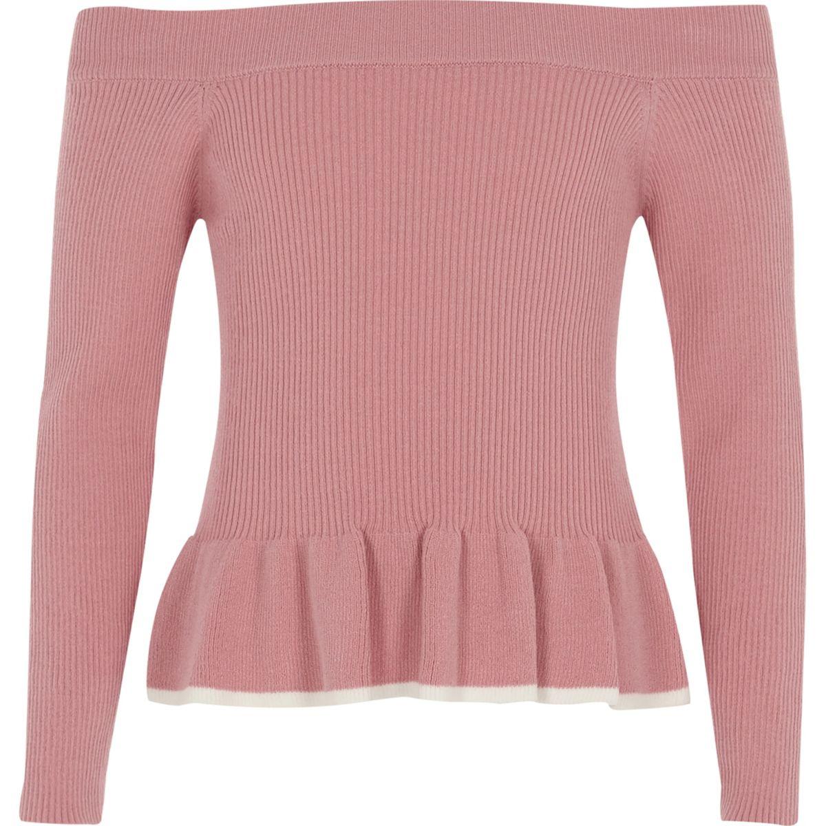 Girls pink bardot peplum hem top