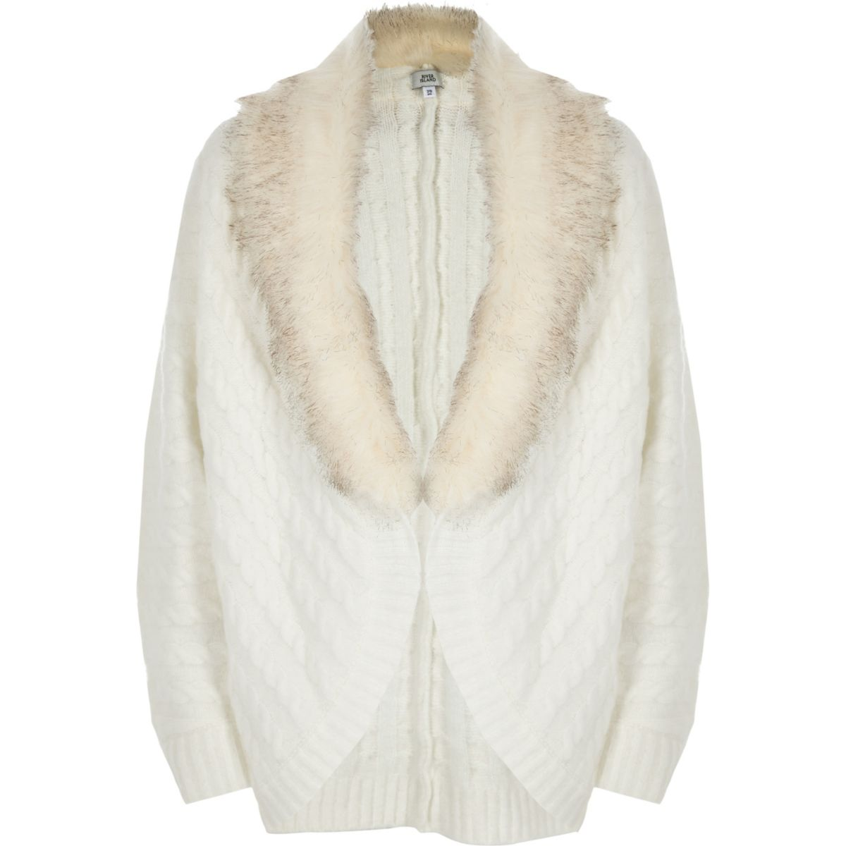 Girls cream cable knit faux fur cardigan