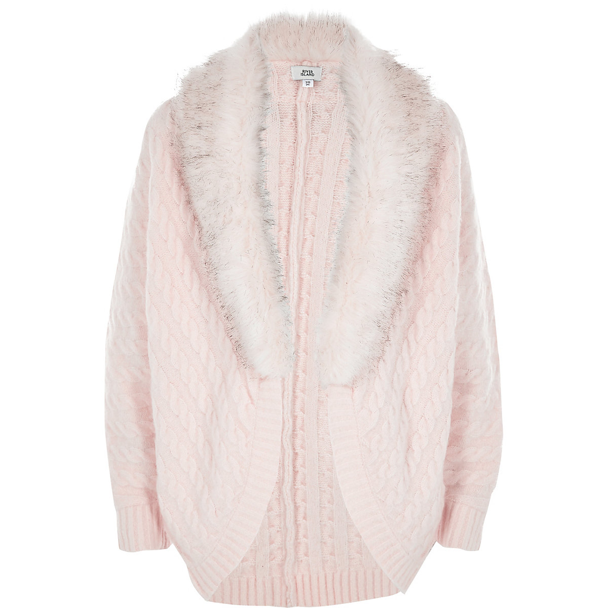 Girls pink cable knit faux fur cardigan