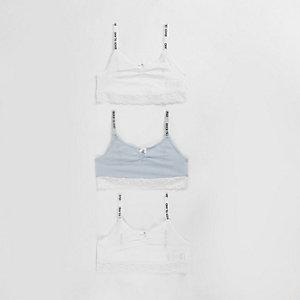 Girls blue lace trim crop top multipack