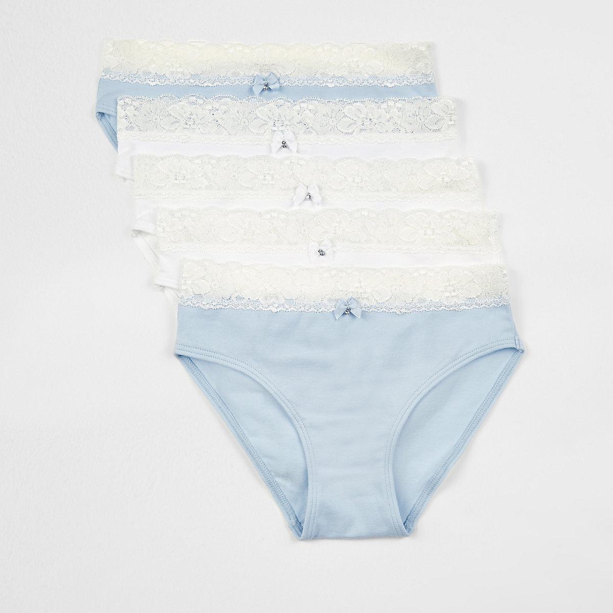 Lot de culottes bordées de dentelle pour fille