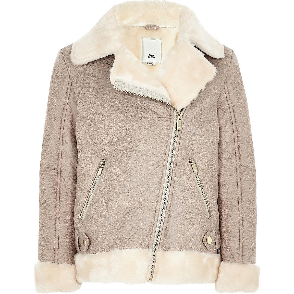 Girls grey faux fur aviator jacket