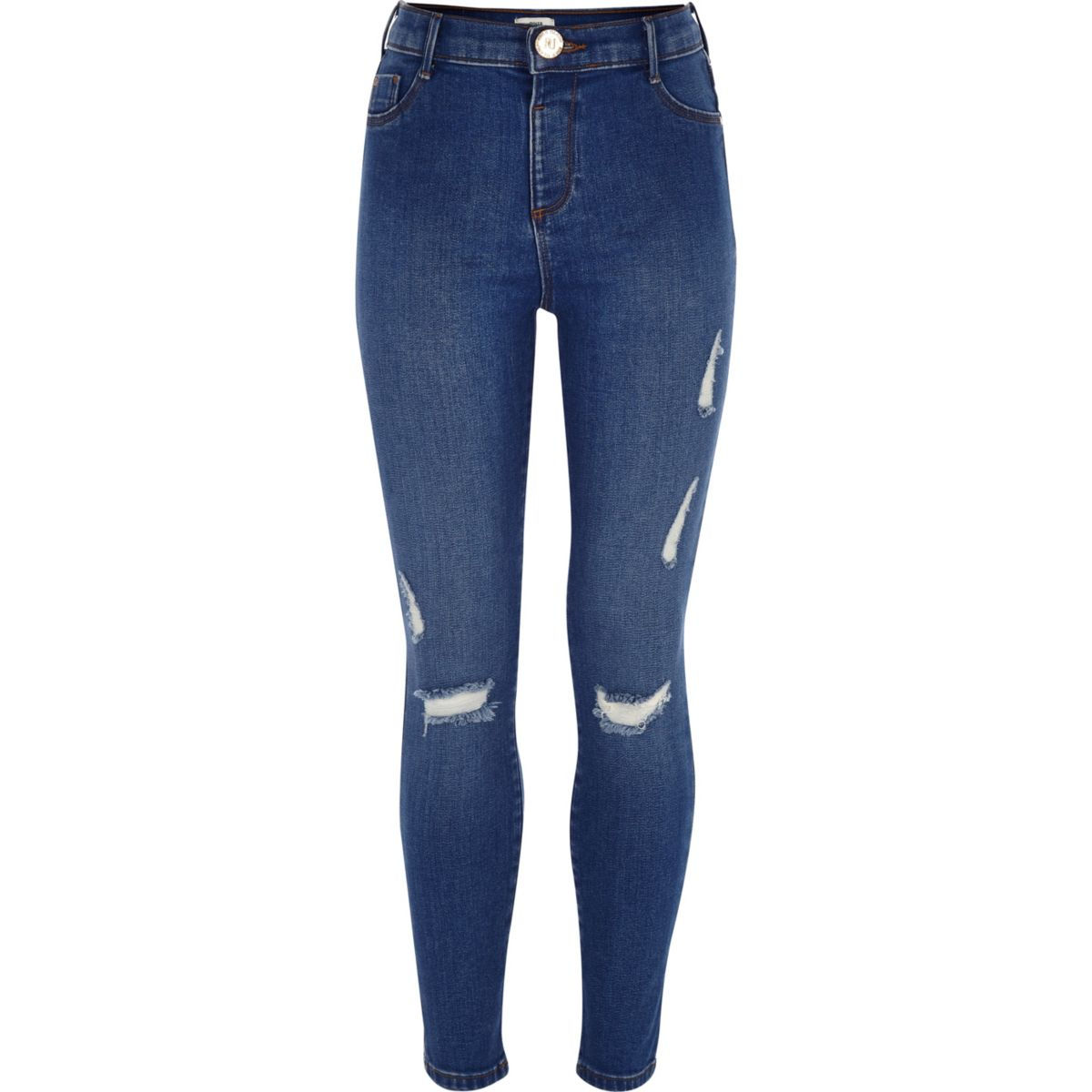 Girls blue mid rise ripped Molly jeggings