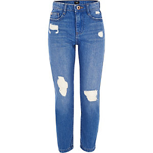 Girls blue Bella ripped straight leg jeans
