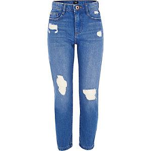Bella - Blauwe ripped jeans met rechte pijpen voor meisjes