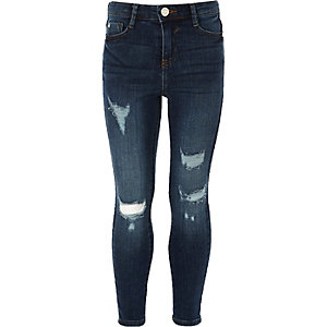 Girls blue Amelie ripped skinny jeggings