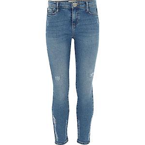 Amelie - Blauwe wash distressed jeans voor meisjes