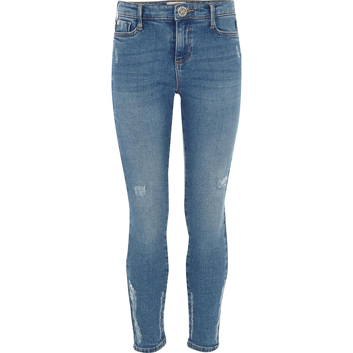 Girls blue wash Amelie distressed jeans