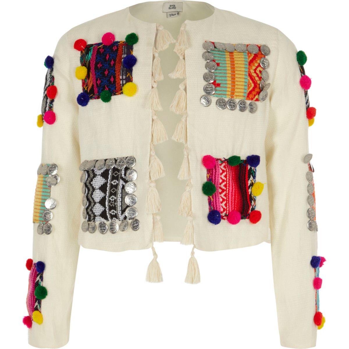 Girls cream pom pom trophy jacket