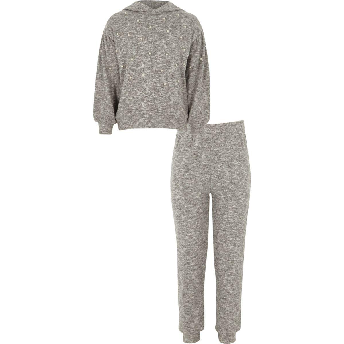 Girls grey pearl embellished hoodie outfit
