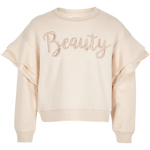 Girls cream 'beauty' frill jumper
