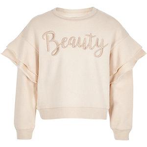 Crème pullover met 'beaty'-print en ruches voor meisjes