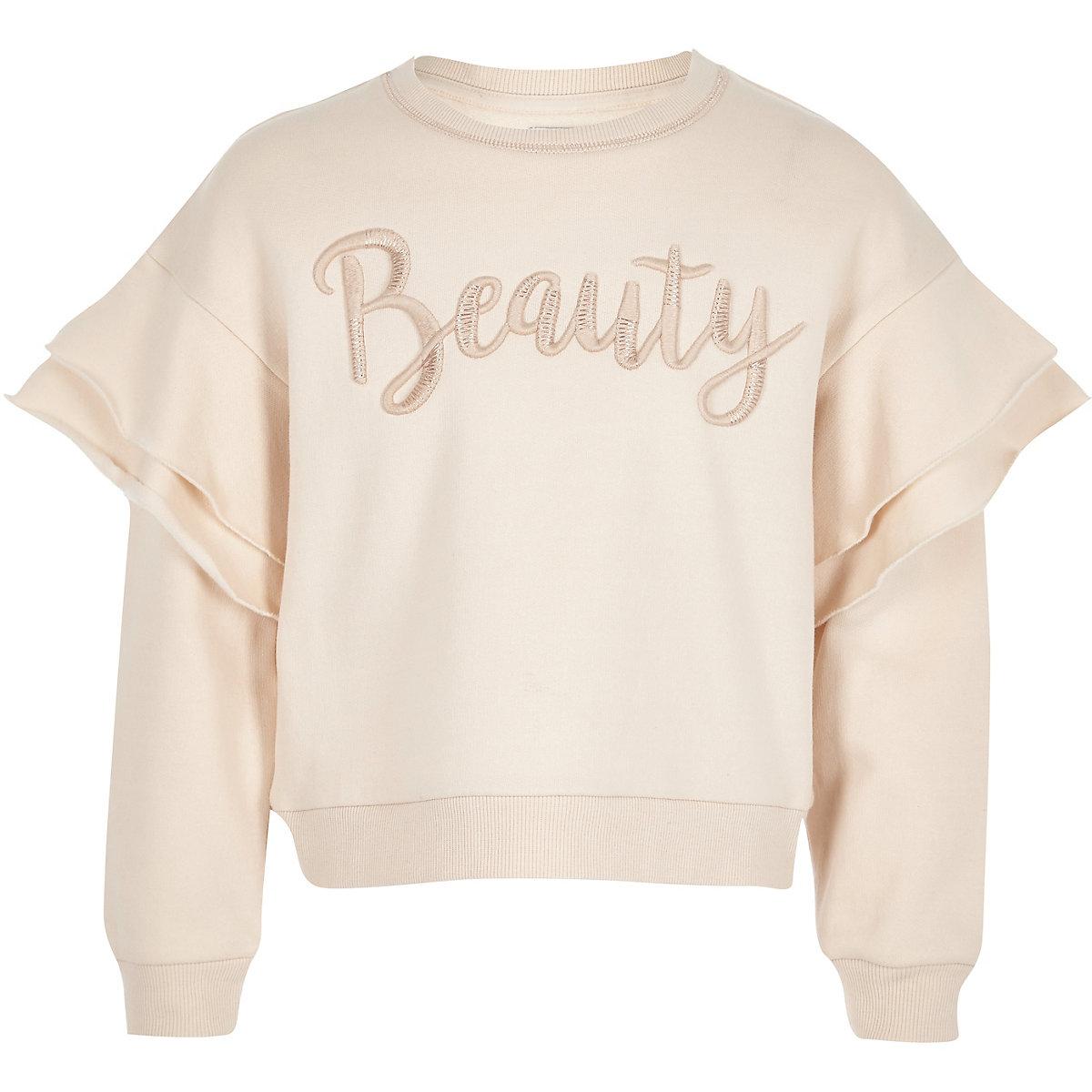 Girls cream 'beauty' frill jumper