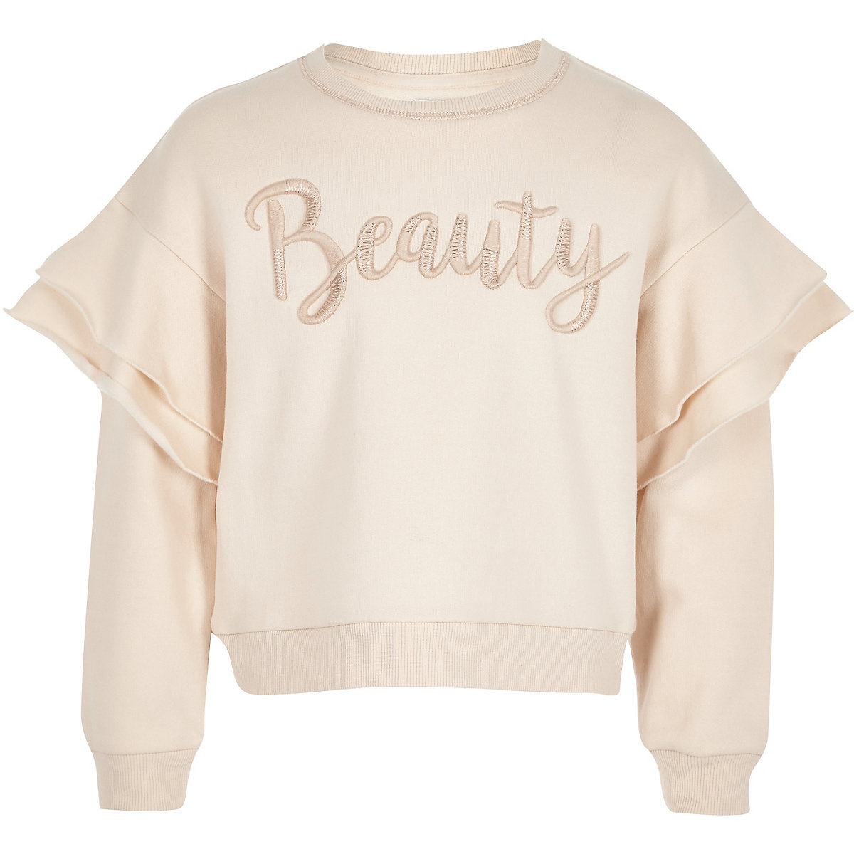 Girls cream 'beauty' frill sweater