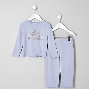 Mini - Blauwe pyjamaset met 'Viva la weekend-print voor meisjes