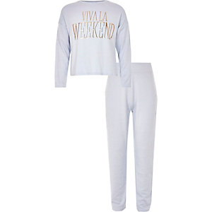 Girls blue 'Viva la weekend' pyjama set