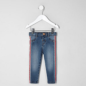 Mini girls Molly denim side tape jeggings