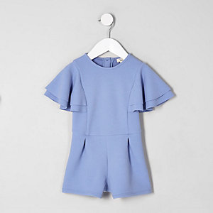 Mini girls blue frill sleeve playsuit